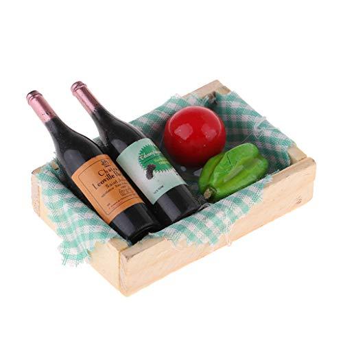 Homyl Miniatur Wein Bier Cocktail Champagner Saft Soda Getränk Flaschen mit Holz Aufbewahrungsbox Modell für 1/12 Puppenhaus Küche Möbel Zubehör - # 1 Küche Saft
