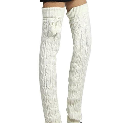 Chaussettes d'épaisseur 1Paire de Jambières en tricot crochet pour bottes d'hiver en tricot laine genou cuisse Bas Haute Chaussettes Legging pour femme et filles avec boules de laine Best cadeau de Noël Blanc