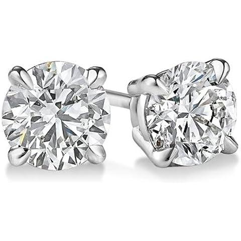 14K oro bianco diamante taglio rotondo orecchini 1cassette, colore G-H si3-i1chiarezza
