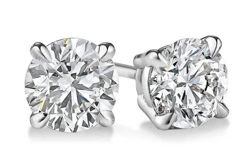 14K oro bianco diamante taglio rotondo orecchini 1,03ctw, colore G-H si3-i1chiarezza