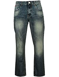 Mens Casual Bootcut Jeans Cotton Trousers