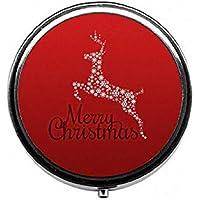 LinJxLee Deer Merry Christmas Round Pill Case Pill Box Tablet Vitamin Organizer Easy to Carry preisvergleich bei billige-tabletten.eu