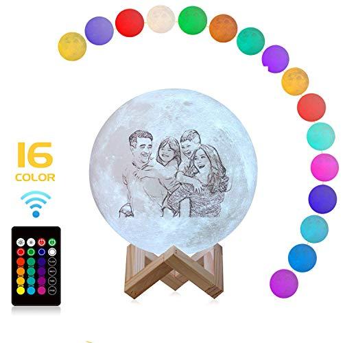Lune 3D Lampe Personnalisée Avec Photo(Photo, Texte, Motif), 3 Couleurs Ou 16 Couleurs Lampe De Lune 3D Avec Photo Avec Lampe De Lune Rechargeable