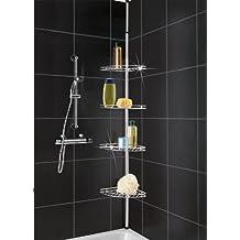 WENKO 8145500 Esquinero telescópico para la ducha acero inox - con 4 repisas, Metal, 20 x 56-275 x 20 cm, Plata brillante