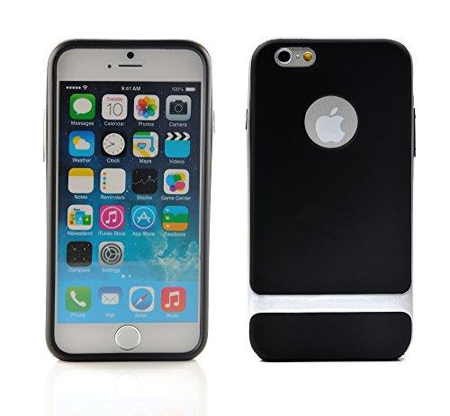 iProtect Schutzhülle Apple iPhone 6 (4,7'') biegsames Soft Case gummiert schwarz und orange Soft Case Gummiert schwarz + weiß