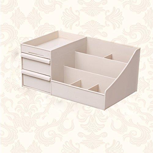 MLMHLMR Kosmetische Aufbewahrungsbox Studentin Schlafsaal Desktop einfache große Make-up Box Schminktisch Hautpflegeprodukte Rack 35,5x22x16cm Hausapotheke (Color : Khaki) -