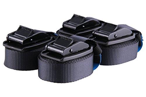 Hochwertige 4m Klemmschloss Zurrgurte Spanngurte mit Schutz vor Zerkratzung und Spanngummi zur platzsparenden Verstauung, 4er Set, schwarz