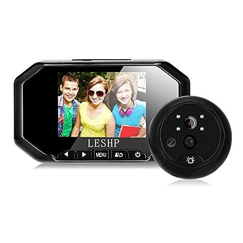 Sonnette video sans fil, LESHP Sonnette portier visiophone 3.5'' écran TFT LCD Couleur Intérieur + Caméra Détection de Mouvement PIR et IR Vision Nocturne de Surveillance Extérieur Vision Support d'enregistrement