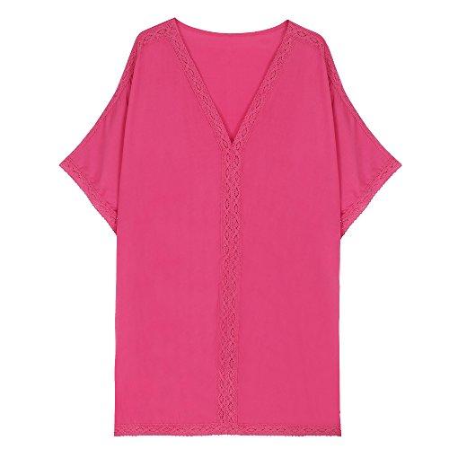 Leeko Sommer Strand kleid bademode swimsuit badesuit V-Ausschnitt Lose casual Beachwear Bikini Cover Up One-Size Minikleider Oberteile Bluse Rosa