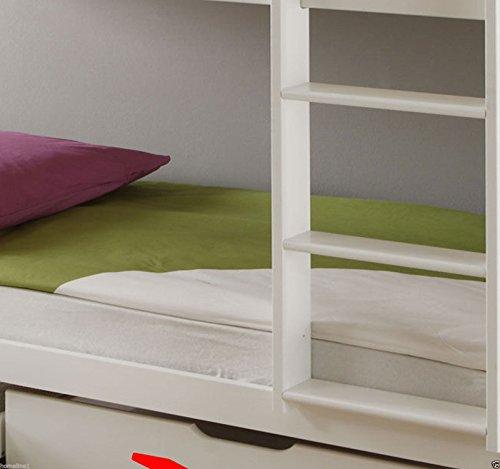 Weiss Kinderbett Etagenbett mit Rolllattenroste Massiv Hochbett Spielbett Stockbett 90×200 cm Matratzen Geeignet
