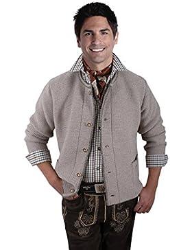 Trachtenjacke Herren - Trachten-Strickjacke - Trachtenjanker Wolle Beige - Trachtenstrickjacke für jede Trachtenlederhose