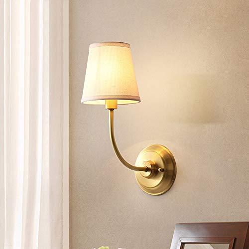 Dekoration American Gold Kupfer Wandleuchte Schlafzimmer Nachttischlampe Wohnzimmer Wand Single Head Gang Europäischen Modernen Minimalistischen Tuch Kunsthandwerk Led Halterung Licht Villa