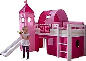 Lit mezzanine 90x200 avec toboggan et tunnel coloris rose