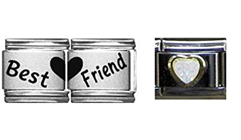 Best Friend Double Lien et blanc 9mm cœur Brillant italien Charms–Charm italien 9mm Compatible avec Zoppini, talexia, boxe et Nomination italien Charme Bracelets