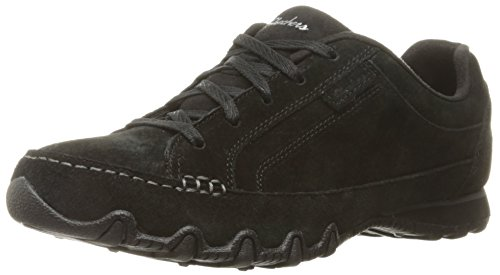Skechers Damen Bikers - Curbed Ausbilder, Schwarz (Black), 41 EU Casual Moc Toe Oxford