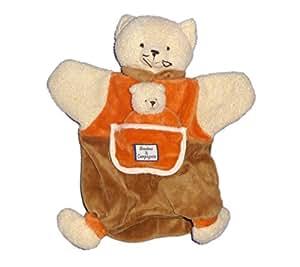 DOUDOU ET COMPAGNIE - Marionnette CHAT Orange marron blanc