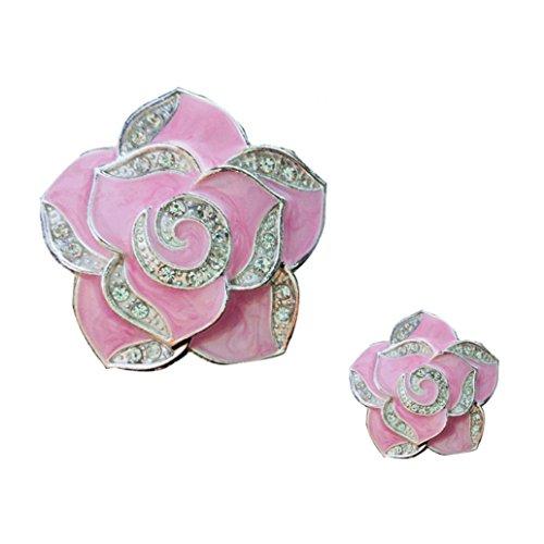 Livecity 2PCS strass a forma di fiore deodorante per auto aromaterapia diffusore Vent clip, Pink, m