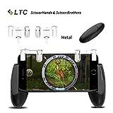 """LTC Mobile Game Controller Set, M2 schießen und zielen Taste Trigger L1R1 aus Stahl + H1 Brothers Game Halter für Survival-Spiele schießen, 4.5"""" zu 6.4"""" Smartphone - Weiß"""