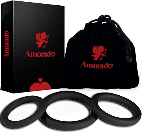 AMORADO Penisringe aus Silikon – Mega Sexspielzeug für Männer zur Potenzsteigerung - Cockring 3 er Set für eine längere und prallere Erektion – mit Samtbeutel (3 Größen)