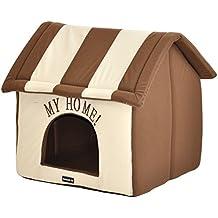 nanook Hundehaus Hundehöhle ADRIAN, Größe L mit Kissen, weicher Stoff Bezug, waschbar, warm, braun beige