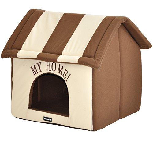 nanook Hundehaus Hundehöhle ADRIAN mit Kissen, weicher Stoff Bezug, waschbar, warm, braun beige