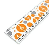 Vintage Clé de Sol Musique Orange 30,5cm Standard et métriques Règle en plastique
