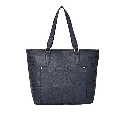 Hautefordiva , Damen Tote-Tasche rotbraun L blau