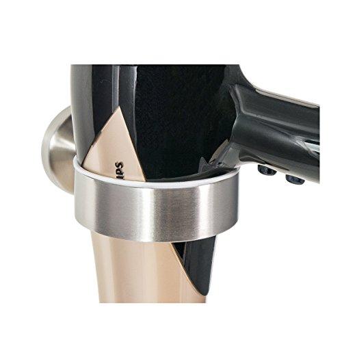 Badserie FIRENZE - Fönhalter, Haartrocknerhalter | robuster Edelstahl matt | zur Wandmontage inklusive Schrauben | auch zum Kleben geeignet - separat erhältlich