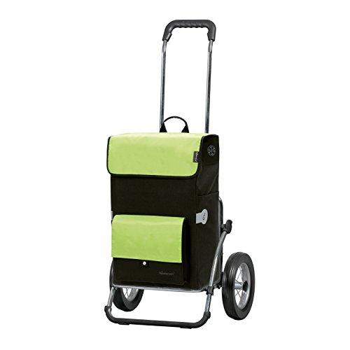Sondermodell Andersen Einkaufstrolley Royal & Einkaufstasche Asta schwarz/grün mit Kühlfach | Einkaufswagen mit großen Rädern | Trolley Gestell Stahl klappbar