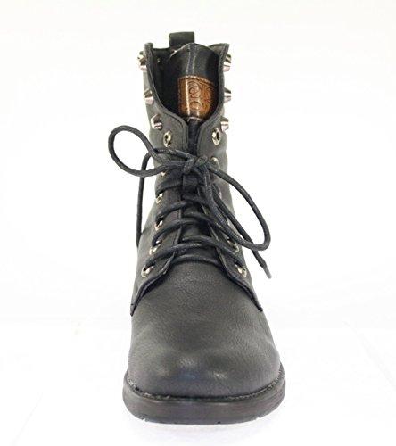 Boots Damenschuhe Farbe Schwarz zum Schnüren mit Nieten Schwarz