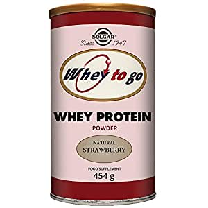 solgar whey to go natural strawberry flavour protein powder 454 g