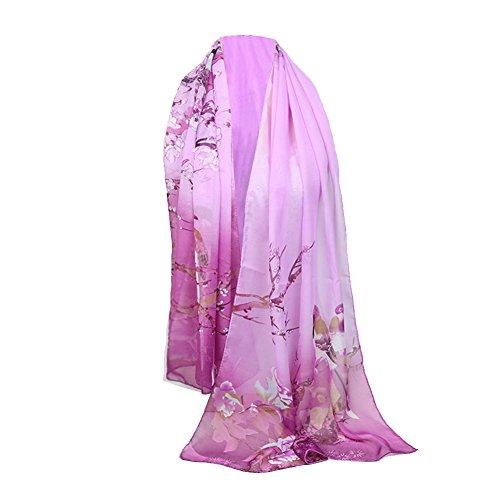 Emorias 1 Pcs Schal aus Gaze Urraca Pfingstrose Muster Sven Mode DAMA Elegant Frühling Winter Schal - Purpur Cashmere-gaze