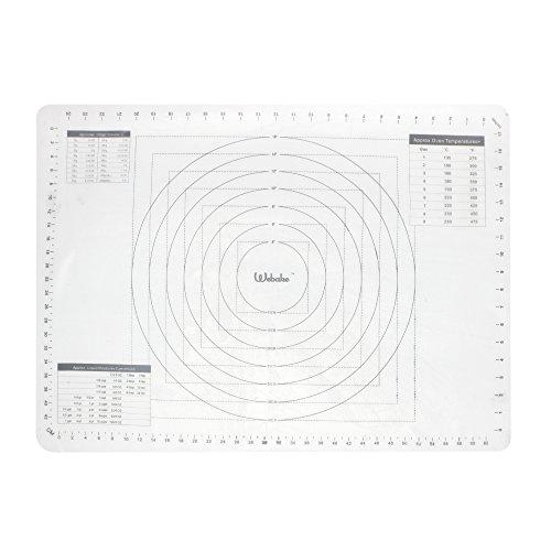 webake 70x50cm Silikon Backmatte Teigmatte Rollmatte Backmatte f¨¹r Teigrollen Arbeitsmatte f¨¹r Fondant-Transparent