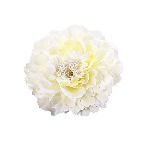 Butterme Multicolor Chiffon Blumen Blütenblatt Haar Clip Bogen Clip Barrettes Zubehör Alligator Clip Mädchen Headwear Kopfschmuck Blume Bogen Hairclip (Beige) -
