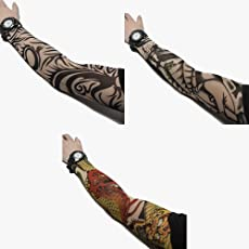 3 Pack of High Quality Fun and Funky Nylson Stretch Cloth Fancy Dress Costume Fake Arm Art Tattoo Sleeves by Kurtzy TM