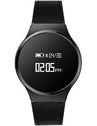 Hombre Casual Moda Inteligente Watch, Podómetro Ritmo cardíaco y monitor de sueño Led Impermeable Botón grande, Pulsera de bluetooth-B