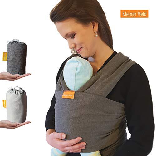 Kleiner Held Baby Tragetuch - hochwertiges elastisches Tragetuch - Babytrage für Früh- und Neugeborene Babys ab Geburt bis 15 kg inkl. Bindeanleitung und Aufbewahrungstasche - Farbe dunkelgrau