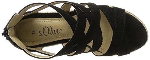 s.Oliver 28311, Sandales Bout Ouvert Femme Noir (BLACK 001)