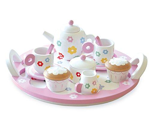 Indigo Jamm Tee-Set : Hölzernes Teeservice für gemütliche Teerunden mit 9 Geschirrstücken und 2 Cupcakes - Blumen