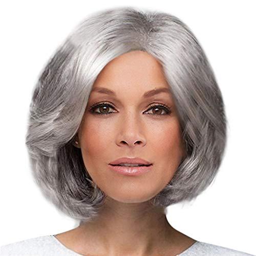 Afro Asiatisches Kostüm - Ansenesna Perücke Damen Grau Oma Locken Kurzhaar Wig (Grau)