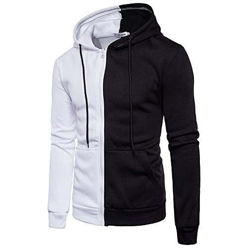 (Yvelands Herren Hoodie Pullover Langarm Hoodie Nähte Reißverschluss Mantel Jacke Outwear Sport Tops)