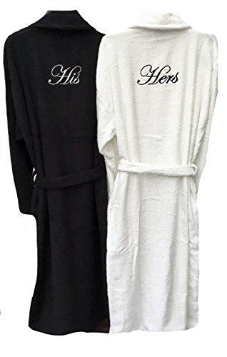 Personalizzato ricamato lui e lei paio di accappatoio/vestaglia–nero e bianco