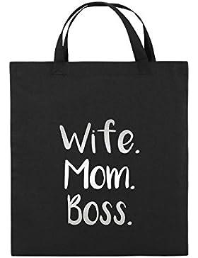 Comedy Bags - Wife Mom Boss - Jutebeutel bedruckt, Baumwolltasche zwei kurze Henkel aus 100 % Baumwolle in 38x42cm...