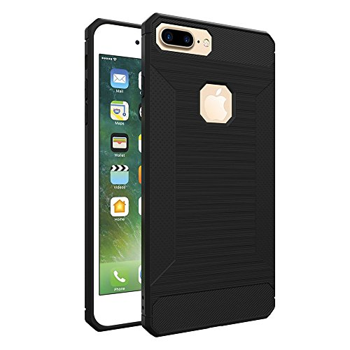 Custodia per iPhone 7 Plus,per iPhone 8 Plus Cover, ZCRO Semplice Stile Flessibile Custodia Silicone Carbonio Antiscivolo TPU Gomma Morbida Bumper Protettiva Antiurto Resistente Case Cover per iPhone Nero