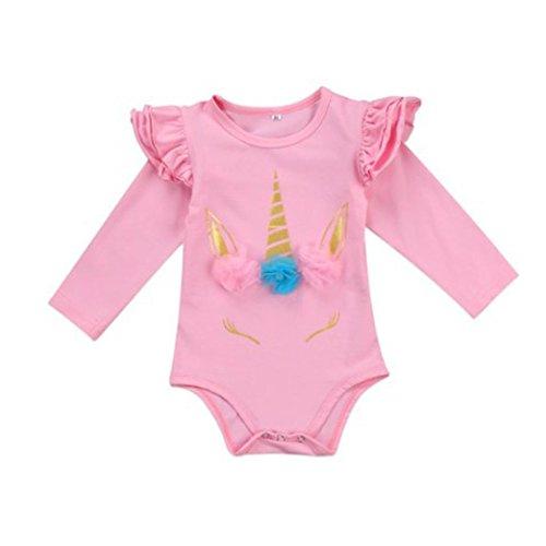 Style_Dress Strampler, Baby Blumen Einhorn Kleidung Set Neugeborene Jungen Mädchen Overall Langarm Tupfen Strampler Overall Tops Body Outfits Spielanzug Set (Rosa, 12-18 Monate)