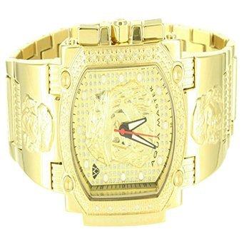 14K Amarillo Oro Acabado metálico para hombre Jesús Cristo esfera helado Aqua Master reloj