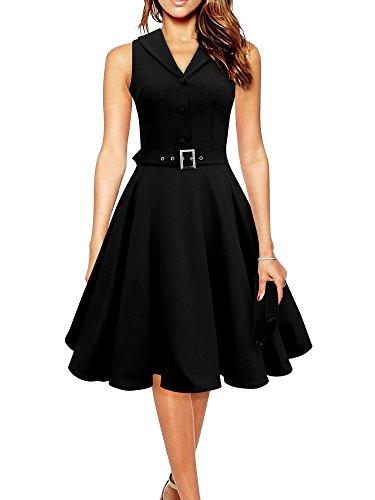 iLover Damen 40er 50er 60er Jahrgang Swing Rockabilly Pin Up Ballkleid Partei Kleid Abend Hemd Stil Kleid Blau S (1960er Jahre, 60er-jahre-baumwolle)