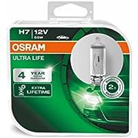 OSRAM ULTRA LIFE H7, lámpara para faros halógena, 64210ULT-HCB, automóvil de 12 V, caja doble (2 unidades)