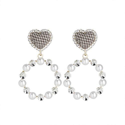 Zxx jewelry orecchini pendenti a forma di cuore adorabili da donna cristalli di perle in stile britannico modifica di contorni del viso orecchini con orecchini orecchini traforati,piercedearrings