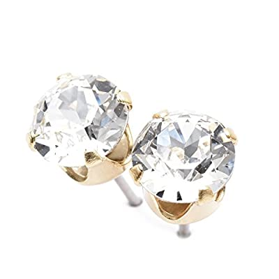 pewterhooter Gold plated stud earrings expertly made with sparkling Diamond white crystal from SWAROVSKI.